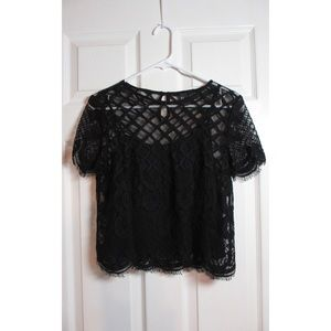 Lace Black Top with Sheer Cropped Cami